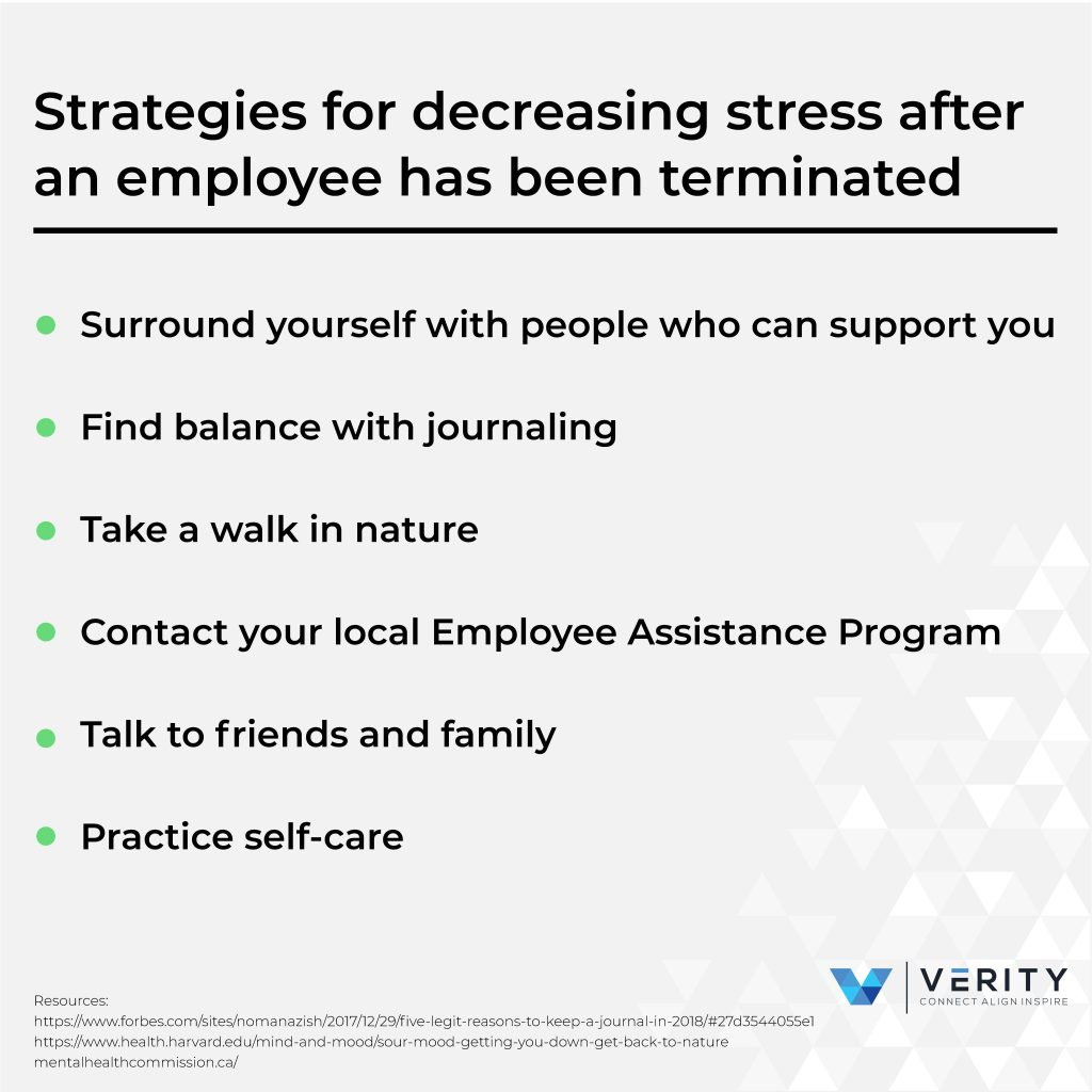 strategies for decreasing stress after an employee has been terminated