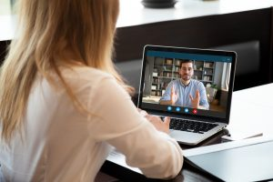 woman in a virtual interview